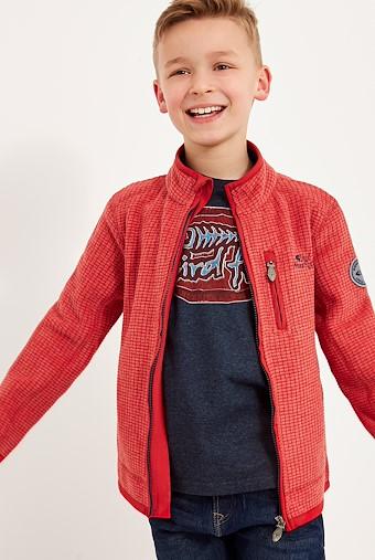 Goby Full Zip Grid Fleece Dark Red