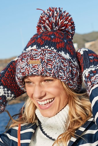 Ellen Fair Isle Bobble Hat Dark Navy