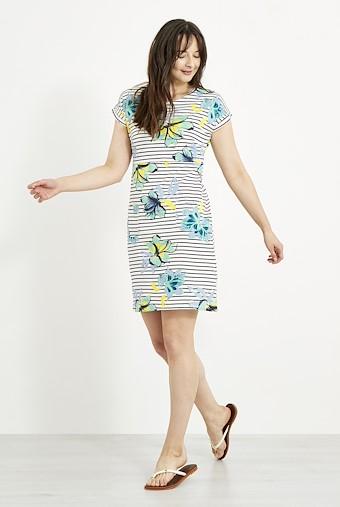 Tallahassee Printed Jersey Dress Cream