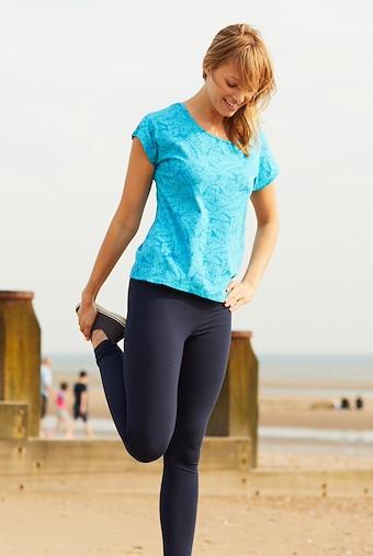 Kiana Bamboo Yoga T-Shirt Lagoon Blue