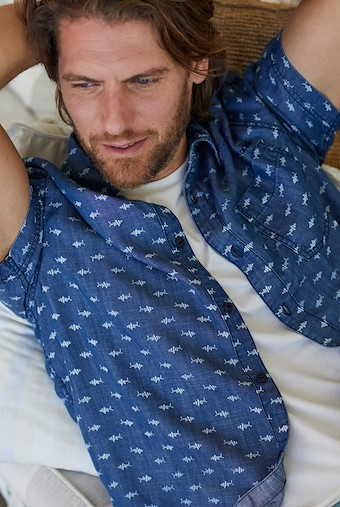 Crosby Printed Tencel Shirt Denim