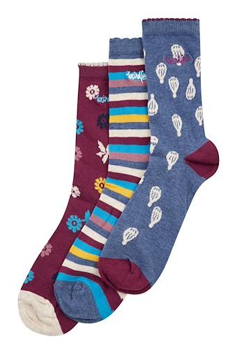 Parade Patterned Sock 3 Pack Dark Navy