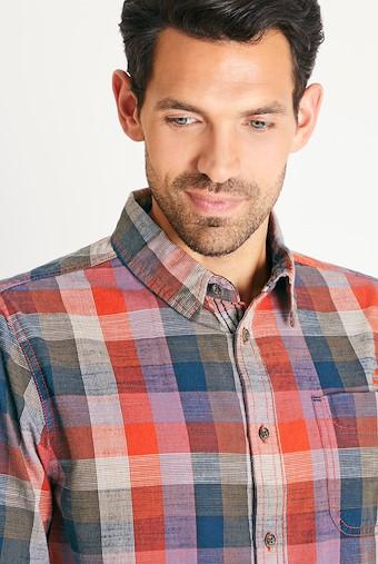 Renato Cotton Madras Check Shirt Dark Rust