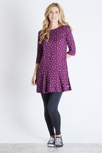 Blaire Printed 3/4 Sleeve Tunic Purple Potion