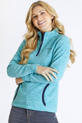 Nancy 1/4 Zip Melange Fleece Sweatshirt Teal Blue