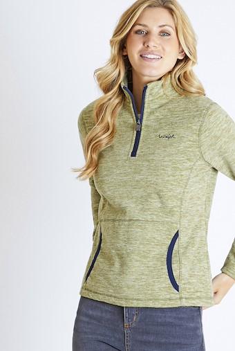 Nancy 1/4 Zip Melange Fleece Sweatshirt Pear