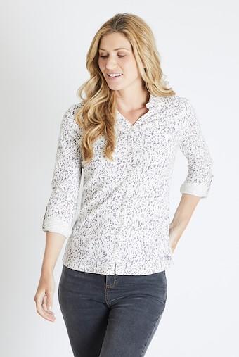 Ginny Floral Printed Cotton Jersey Shirt Ecru