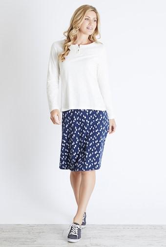 Mae Long Sleeve Cotton T-Shirt Light Cream