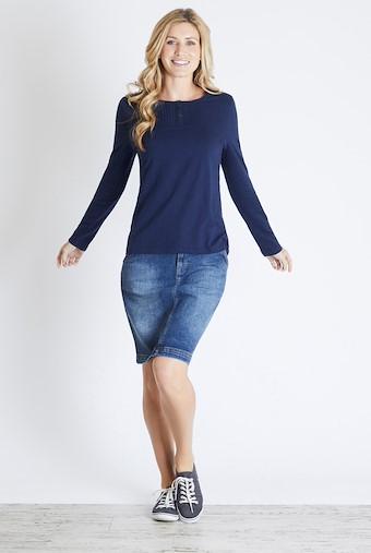 Mae Long Sleeve Cotton T-Shirt Dark Navy