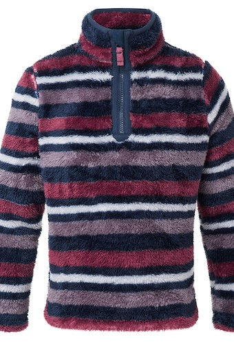 Arrie 1/4 Zip Striped Teddy Fleece Purple Potion
