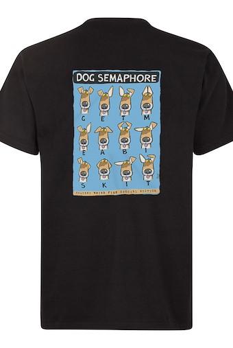 Dog Semaphore Artist T-Shirt Black
