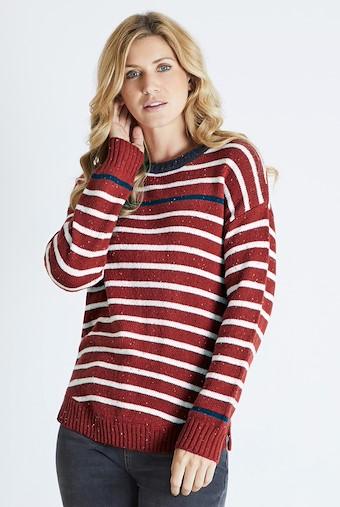 Alexa Striped Jumper Chilli Red