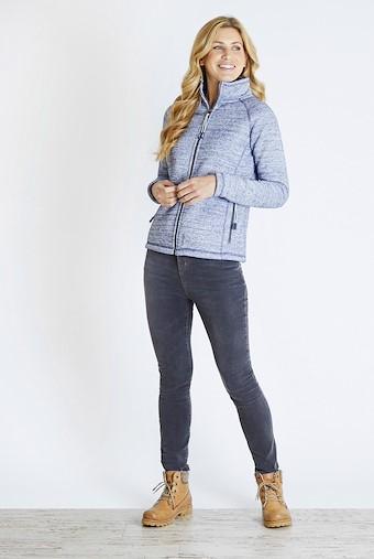 Wendoline Fur Knit Textured Fleece Jacket Dark Navy