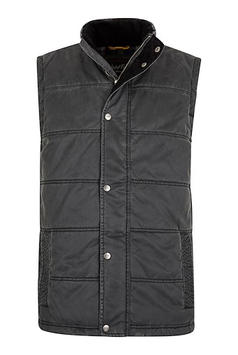 Victor Printed Wadded Gilet Washed Black