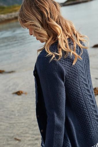 Brielle Plain Cable Knit Cardigan Dark Navy