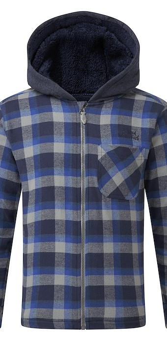 Roach Check Hooded Shacket Dark Navy
