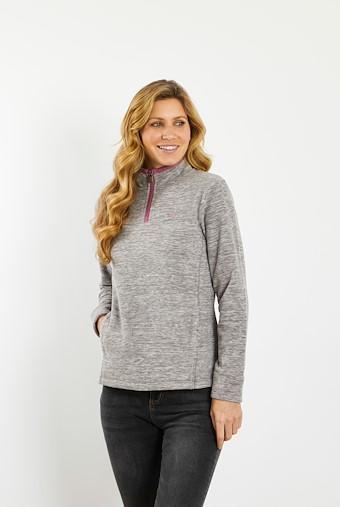 Larnee 1/4 Zip Plain Fleece Sweatshirt Grey