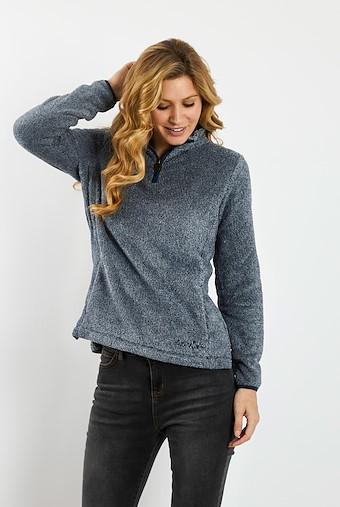 Maiya 1/4 Zip Plush Fleece Sweatshirt Dark Navy