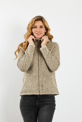Adina Hooded Sherpa Lined Fleece Chalk