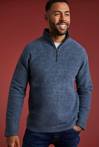 Newark 1/4 Zip Grid Fleece Sweatshirt Navy