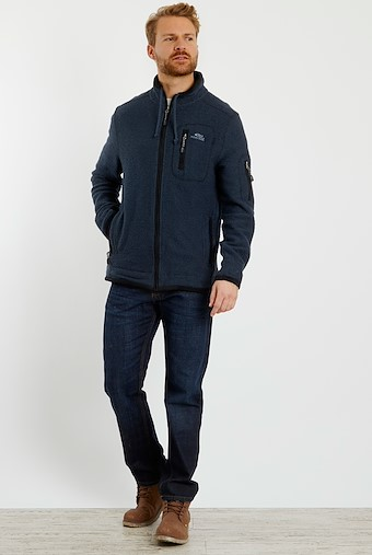 Whitburn Full Zip Lined Macaroni Sweatshirt Dark Navy