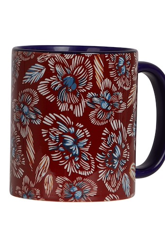Glenveagh Floral Two Tone Printed Mug Chilli Red