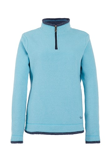 Beyonce 1/4 Zip Grid Fleece Cyan