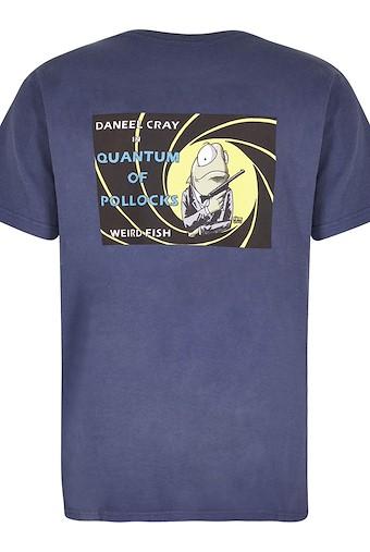 Quantum Pollocks Artist T-Shirt Blue Indigo