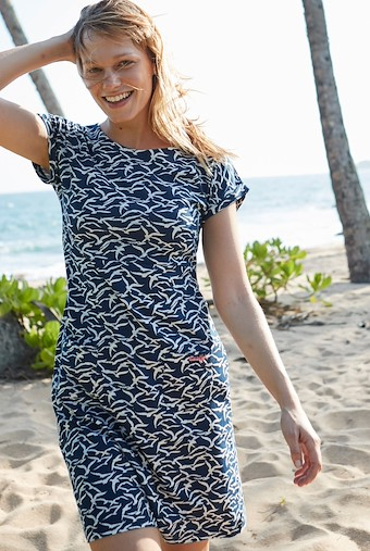 Tallahassee Patterned Cotton Jersey Dress Dark Navy