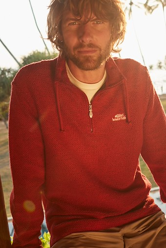 Cruiser 1/4 Zip Classic Macaroni Sweatshirt Chilli Pepper