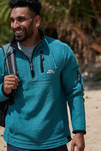 Parkway 1/4 Zip Tech Macaroni  Deep Teal