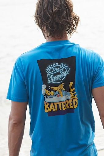 Battered Artist T-Shirt Blue Wash