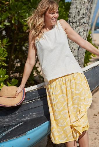 Bonnie Floral Print Midi Skirt Sunshine Yellow