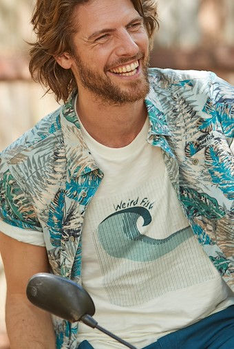 Dashbeck Short Sleeve Hawaiian Print Shirt Lead