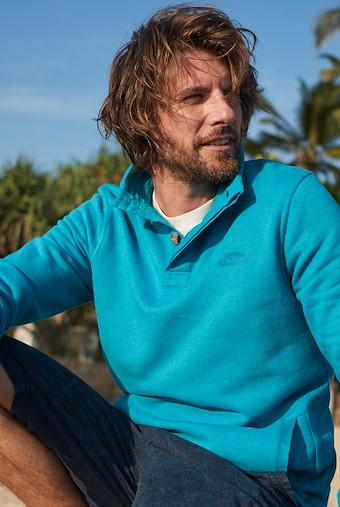 Folk Button Neck Sweatshirt Pagoda Blue