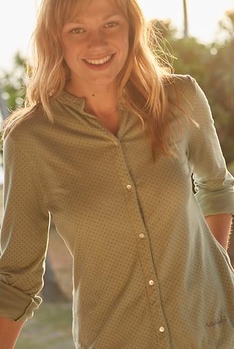 Melanie Polka Dot Jersey Shirt Silver Sage