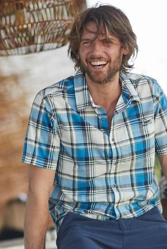 Modbury Short Sleeve Checkered Shirt Blue Wash
