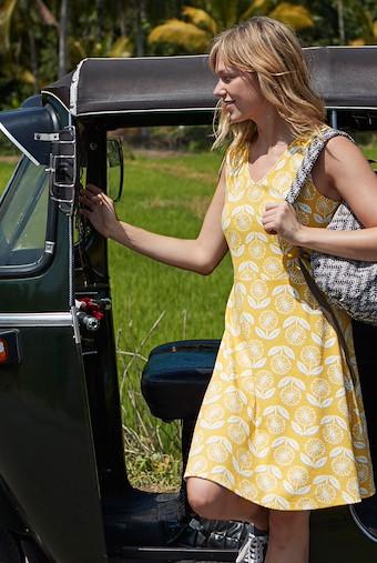 Paisley Sleeveless Patterned Jersey Dress Sunshine Yellow