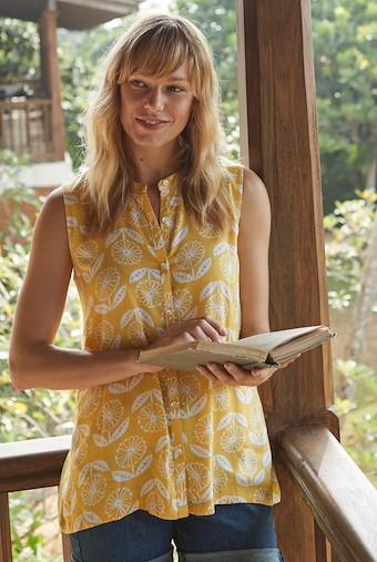 Piper Sleeveless Floral Print Shirt Sunshine Yellow