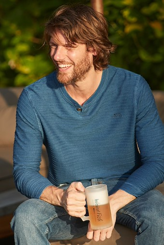 Montgomery Jacquard Stripe Henley T-Shirt Indigo