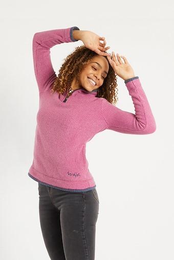 Beyonce 1/4 Zip Grid Fleece Magenta