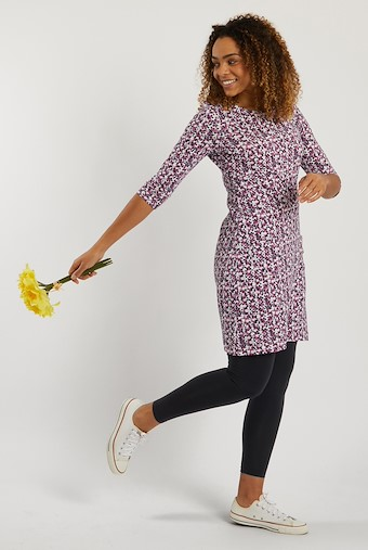 Starshine Patterned Jersey Dress Magenta