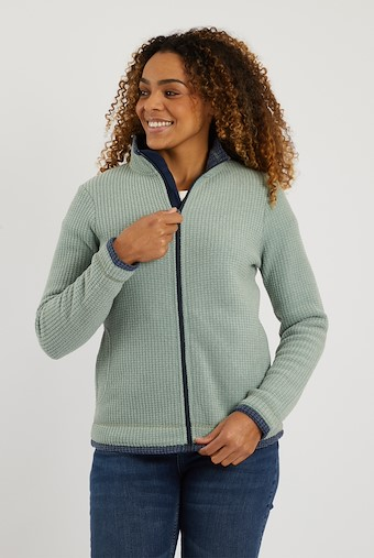 Ariana Grid Fleece Jacket Silver Sage