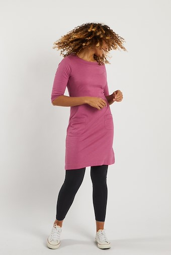 Starburst Plain Jersey Dress Magenta