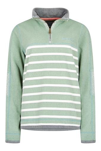 Lono 1/4 Zip Striped Pique Sweatshirt Silver Sage