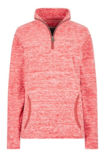 Nancy 1/4 Zip Melange Fleece Sweatshirt Rouge Red