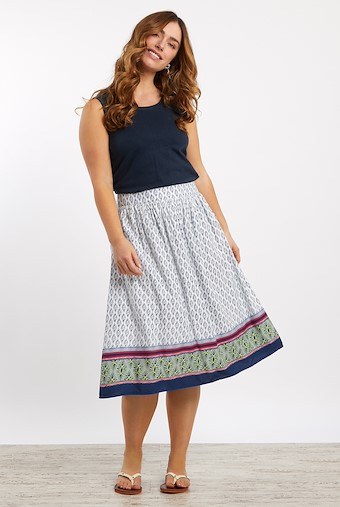 Bonnie Floral Print Midi Skirt Light Cream