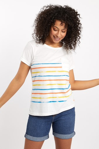 Faith Striped T-Shirt Light Cream
