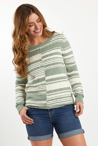 Lassen Mixed Stripe Cotton Jumper  Silver Sage