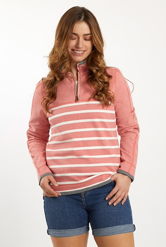 Lono 1/4 Zip Striped Pique Sweatshirt Bubblegum
